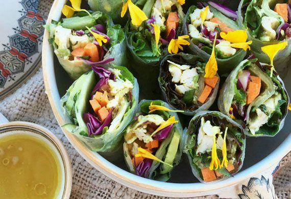 Chicken satay rice paper rolls recipe - 9Kitchen