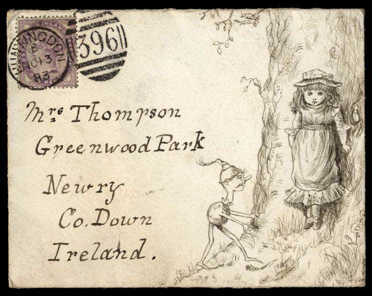 """Hand Illustrated and Later Printed Envelopes: 1883 (Nov. 13th) envelope from Huntingdon to Newry bearing 1d. lilac at upper left and with a fine pen and ink illustration of a frightened young girl standing by a tree and being approached by a somewhat disturbing fantasy figure."""