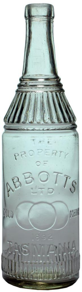 Abbott's, Gold Medal, Tasmania. Clear glass vintage cordial bottle with decoration around shoulder and base. Medals trade mark. c1920s-1930s