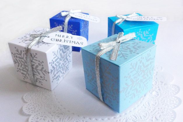 "4 Christmas Gift Mini Box, Favor Boxes in colors royal blue, sky blue, light blue and white. They are 2"" x 2"" x 2"" in size. This boxes are hand made and assembled using smooth acid free cardstock..."