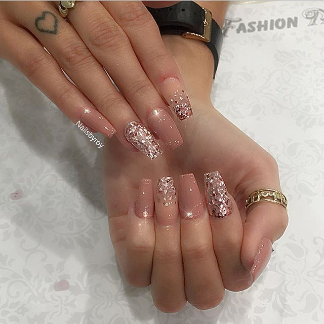 Mix & match nude & rose gold acrylic nails