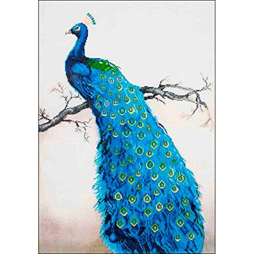 "Needleart World Blue Peacock Diamond Embroidery Kit: This all inclusive embroidery kit contains high quality color printed fabric, Diamond Dotz pre-sorted by shade, Diamond Dotz stylus, craft tray and wax caddy. Complete multi-lingual instructions, design measures 23.5""X33""."