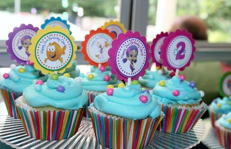 Fun cupcakes at a Bubble Guppies birthday party! See more party ideas at CatchMyParty.com!