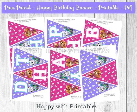 Paw Patrol Happy Birthday Banner  Paw Patrol Banner For Girls
