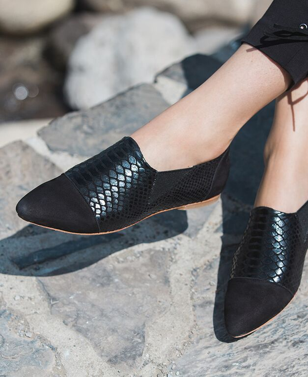 Women's Slip-On Oxfords in Black Cobra courtesy of our Fall Collection. Poppy Barley offers made-to-measure in sizes 5-12 and are made to fit narrow, standard or wide feet | PB Fall15 Lookbook