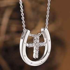 Sterling Cross in Horseshoe Pendant 18 in - Horse Themed Gifts, Clothing, Jewelry & Accessories all for Horse Lovers