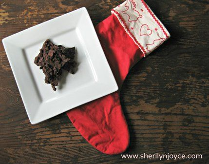 """Dark Chocolate Cranberry Almond Bark (gluten free) Find this recipe and many more in my FREE ebook """"The Gluten Free Holiday Survival Guide"""" ---> http://sherilynjoyce.com/gluten-free-holiday-recipes/"""