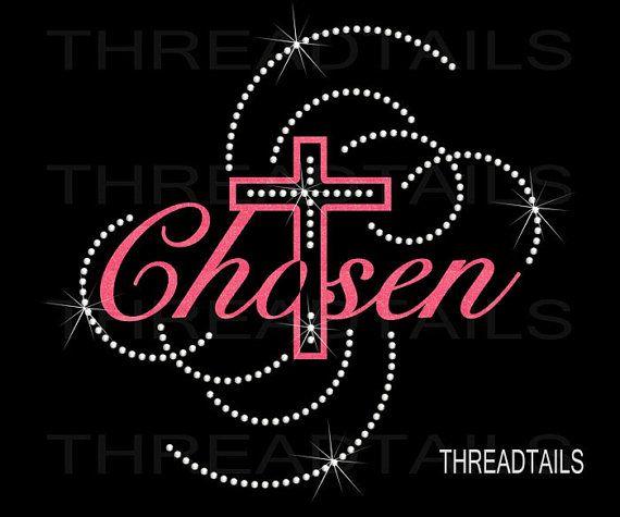 Christian Rhinestone Bling Tee Chosen With Cross Design