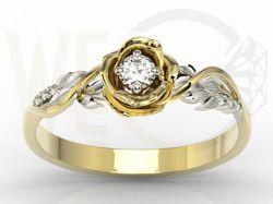Pierścionek złoty w kształcie róży z białym szafirem i brylantami / Rose shapped ring made from tellow gold with white sapphire and diamonds / 1 414 PLN / #jewellery #gold #ring #rose #sapphire #diamonds #art