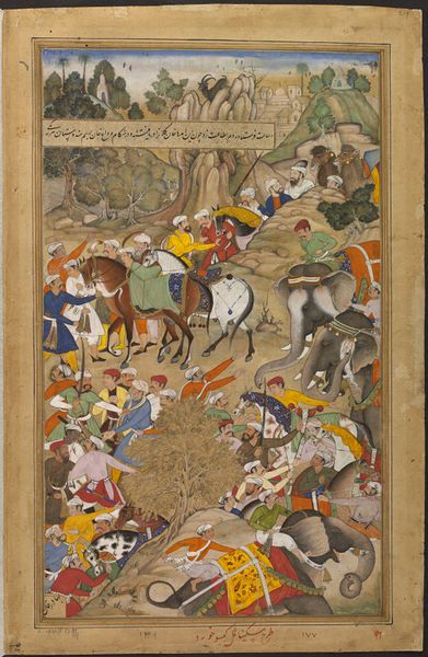 Akbarnama in 1572 Mughal forces led by Khan Kilan marched to Gujarat to conquer this independent kingdom. The Rajput chief, Man Singh Deohra, sent envoys to Khan Kilan,  one of the envoys stabbed the Mughal general in the shoulder. Khan Kilan's men leapt forward and killed the attacker and his companions.  by Miskina & Kesav Khord ca. 1586 - ca. 1589  V&A