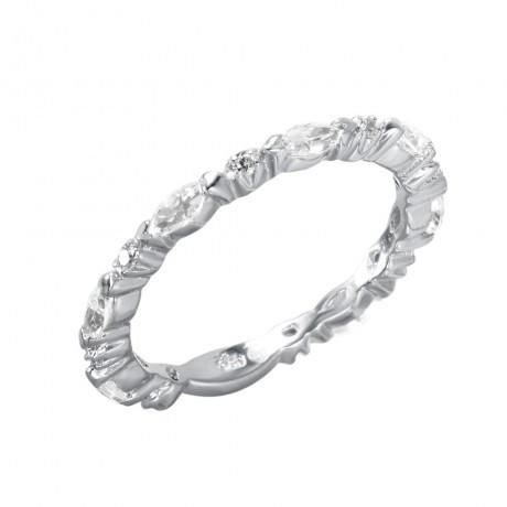 Metal: .925 Sterling Silver Finish: Nickel Free Rhodium Plated Stones: 8 clear 1mm CZ & 7 2mm x 4mm Marquise CZ Ring Measurement: 2mm width