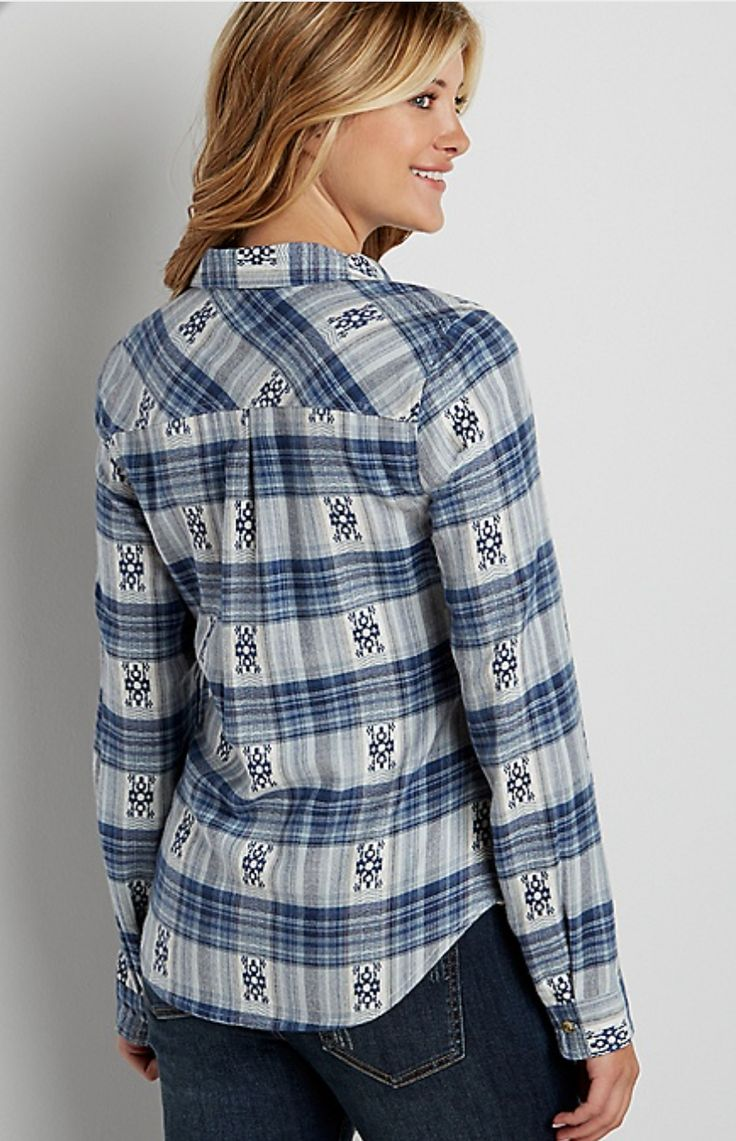 Maurices Plaid Button Down flannel shirt in blue with ethnic embroidery