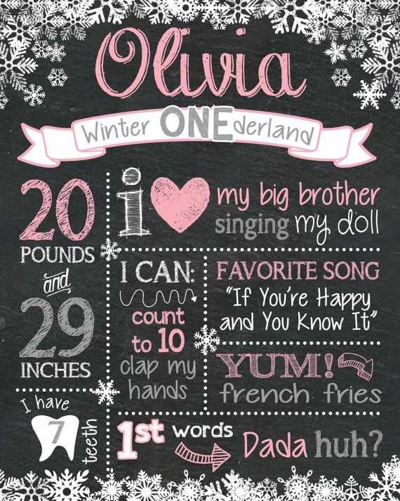 Are you having a Winter ONEderland party? This chalkboard birthday sign is going to be your favorite birthday party accessory! This sentimental