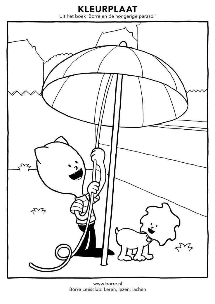 uit het boek borre en de hongerige parasol kleurplaten
