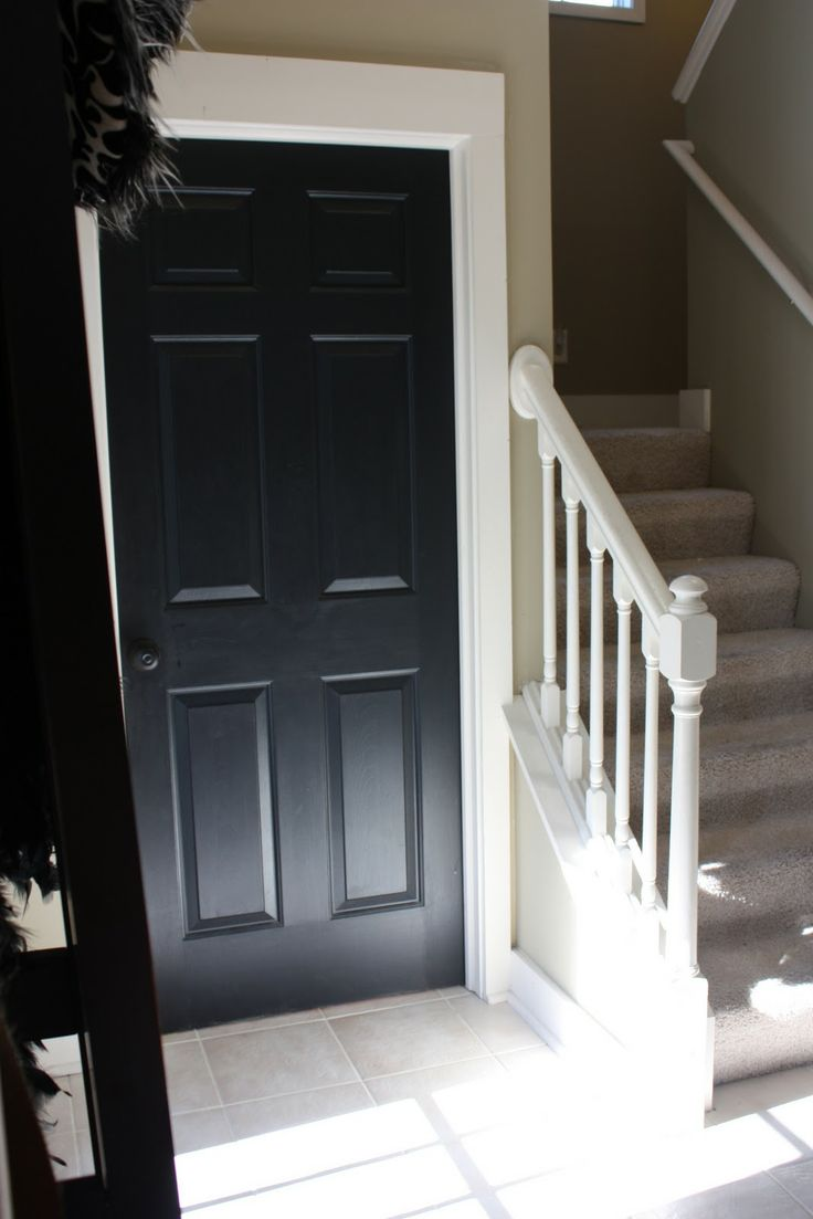 This is SERIOUSLY making the wheels turn in my head...I could do this in our foyer!Interiors Doors, Decor Ideas, Black Doors, Oak, White Trim, House, Yellow Capes Cod, Painting, Character Buildings