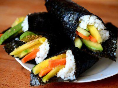 """Receta de Temakis de Vegetales   Según leí, """"Temaki"""" significa """"roll hecho con la mano"""". Puede contener los mismos ingredientes que el sushi, pero se prepara más fácilmente, debido a que lo que realizamos es un cono de alga nori, relleno con arroz y los condimentos que nos gusten. En este caso usaremos pepino, aguacate y zanahoria como base. Pero puedes añadir los que te gusten."""