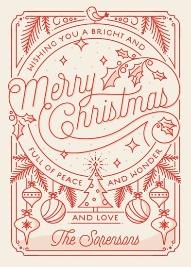 non-photo holiday cards - Merry Little Lines by GeekInk Design