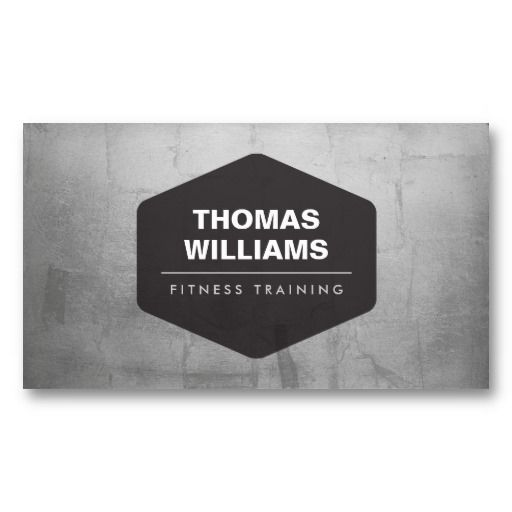 VINTAGE EMBLEM LOGO on METALLIC SILVER Business Card for Personal Trainers