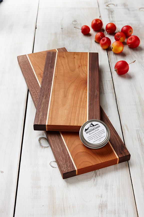 Wooden Cheese Board Set Save $10 off the cost of buying them separately! __________ Great Wedding Gift Beautiful and Classic Handmade ____________ Enjoy the luxury of owning both sizes of our cheese boards. Each set includes both the small 6 x 12 and the large 6 x 18 sizes of cheese boards. This makes serving larger charcuterie and cheese platters simple and elegant. Or buy them for a special occasion. Great for weddings, anniversaries, birthdays and more. Our cheese board sets make wond...