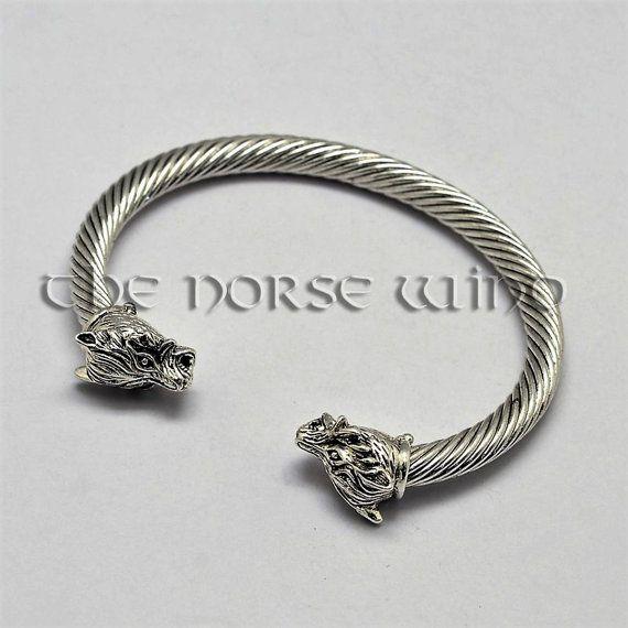 Viking Bracelet, Wolf Head Bracelet, Fenrir Wolf Bracelet, Viking Amulet, Norse Bracelet, Norse Mythology, Viking Jewelry