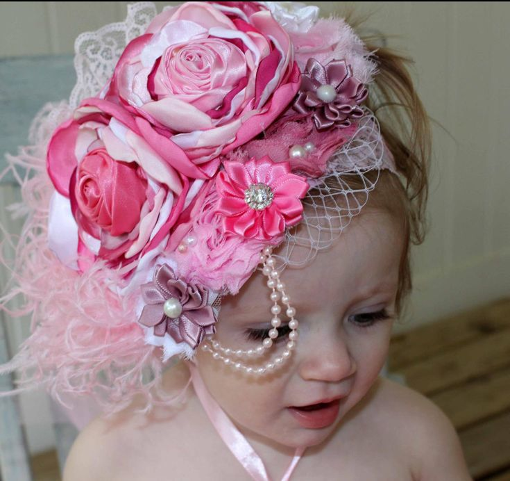 Elegant Vintage Pink and Mauve Couture-Baby Headband-Photo | Etsy