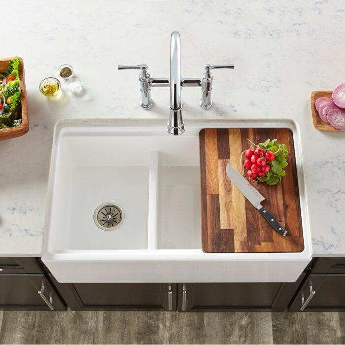 33 L X 20 W Double Basin Farmhouse Apron Kitchen Sink In 2021 Farmhouse Sink Kitchen Apron Front Kitchen Sink Undermount Kitchen Sinks