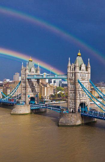 Double rainbow over Tower Bridge, London (© Rudy Sulgan/Corbis)