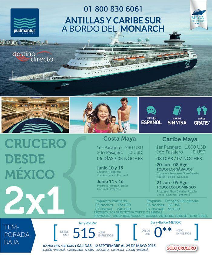 Disfruta de este crucero por el caribe en el 2015. Solo hasta 30 de septiembre de 2014 promoción 2x1 y niños gratis. 100% en español no se requiere visa.