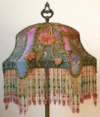 Bohemian Pink and Teal Beaded Lampshade.