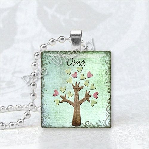 OMA Pendant Grandma Grandmother Granny German Word by PixieWhimsy