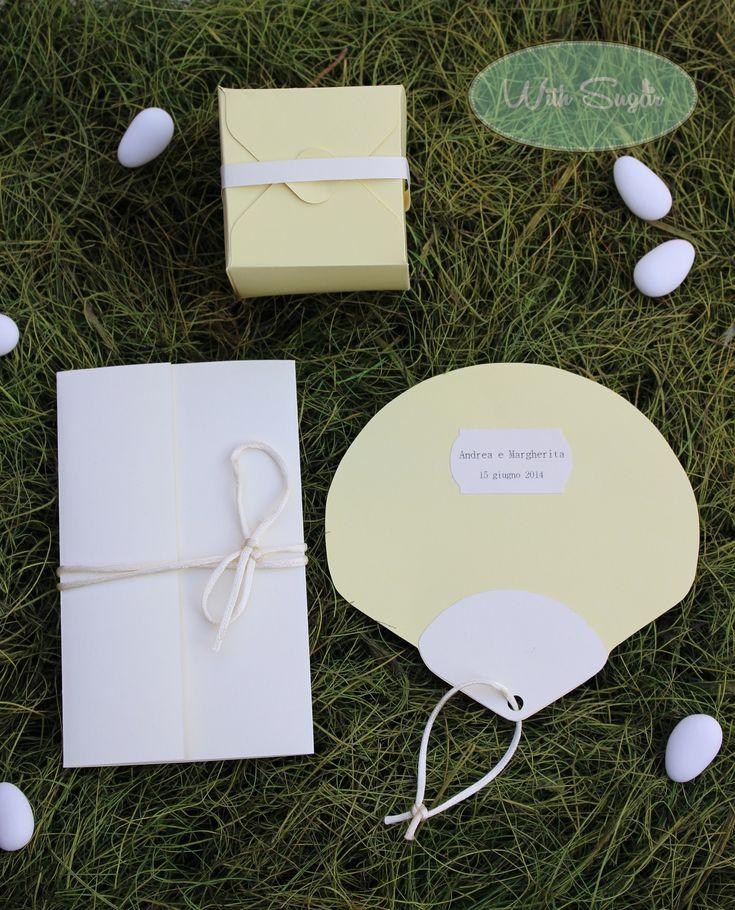 Coordinato di Nozze in Giallo Pastello: Partecipazione, Ventaglio e Bomboniera - Wedding Handmade
