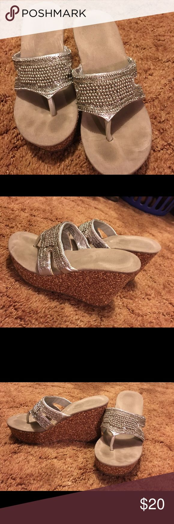 Maurice's flip flop wedge with beading Super comfy wedges, fit like size 6 Maurices Shoes Wedges