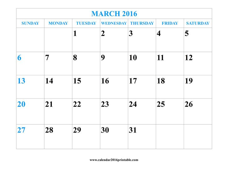Free March 2016 Calendar Printable with Holidays that you can download, customize, and print. Calendars are available in PDF, and Microsoft Word formats.