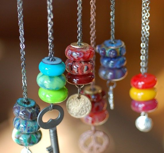 Lampwork Glass Beaded Lariat Necklace Boro beads by Venbead, $55.00