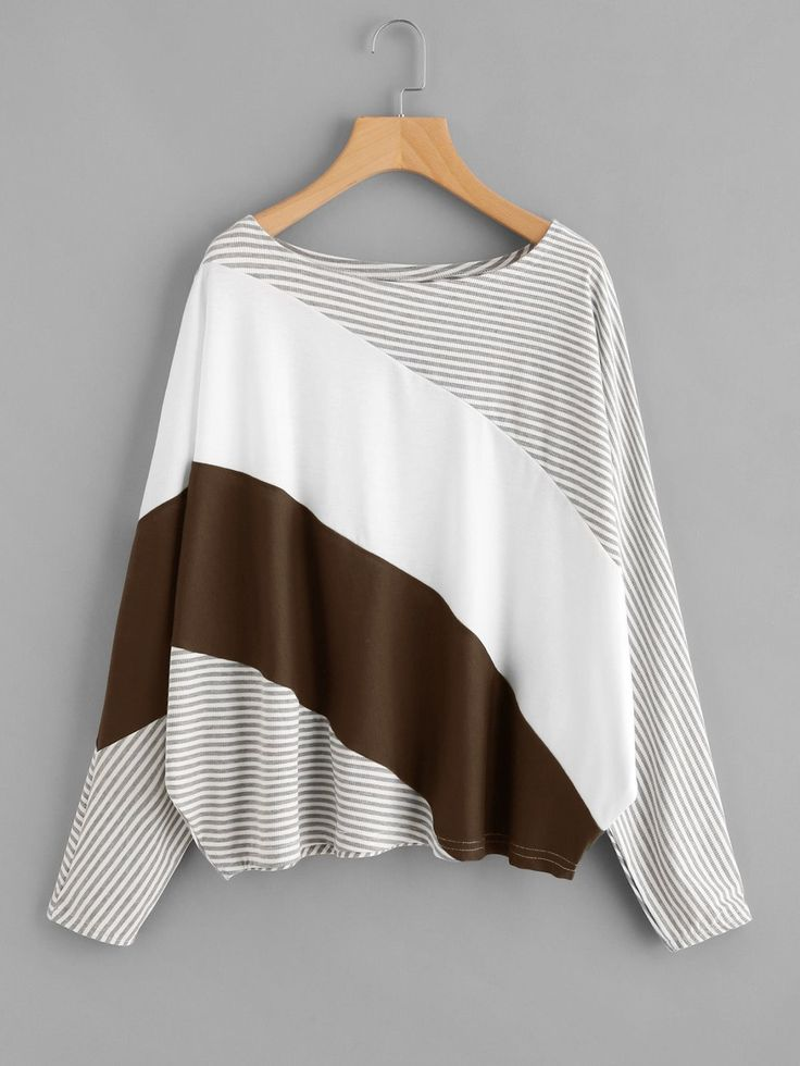 T-Shirts by BORNTOWEAR. Cut And Sew Striped Batwing Tee