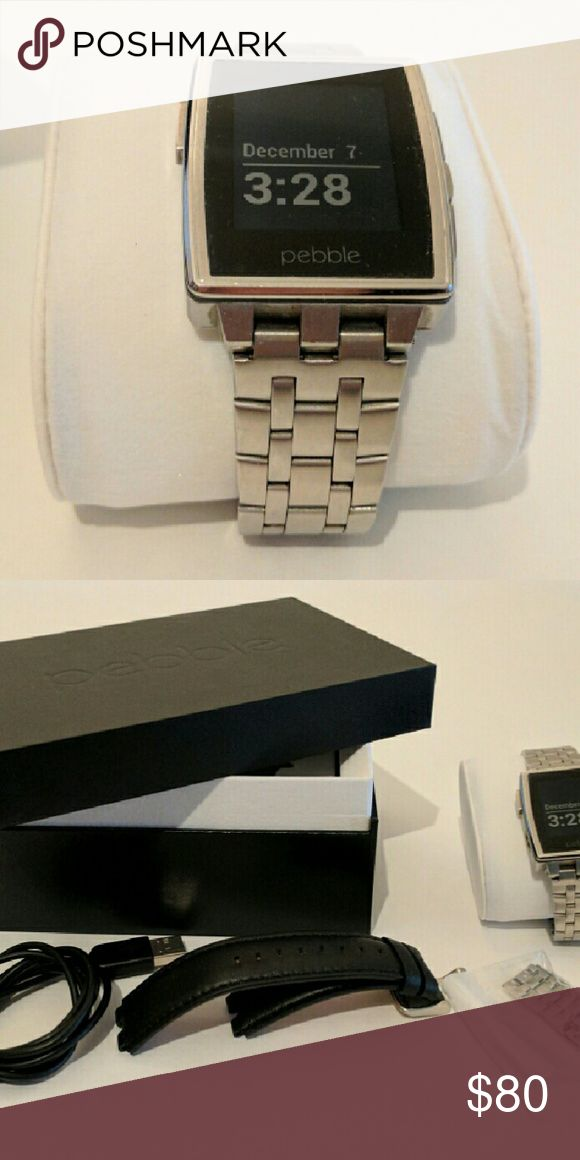 Pebble Steel smartwatch with metal & leather bands / manufacturer: Pebble model name / number: Steel This is the original Pebble Steel.  Includes - Metal wristband w/extra links - Leather wristband - USB charging cable - Original box Pebble   Accessories Watches