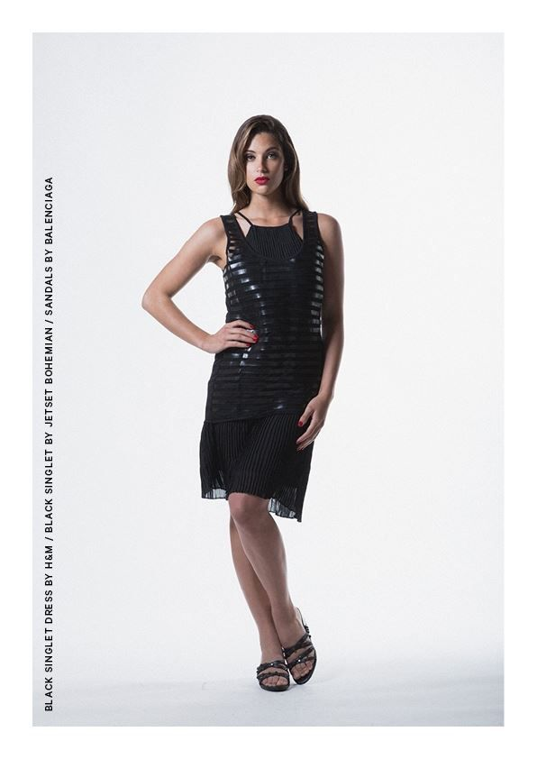 Black singlet Dress by H&M with Black Singlet by Jetset Bohemian- Sandals by Balenciaga