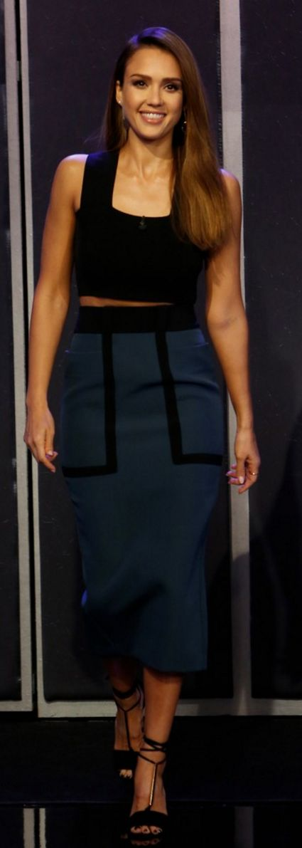 Jessica Alba in Shirt – A.L.C.  Shoes – Pierre Hardy  Skirt – Roksanda