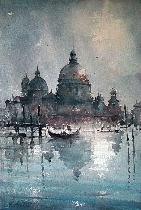 Watercolor, Santa Maria della Salute, Venice - Dusan Djukaric