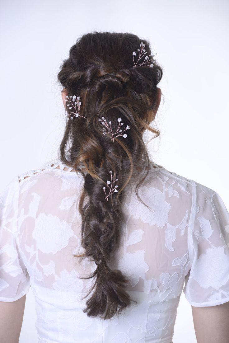 Rose gold wedding hair accessories - Rose Gold Headpiece Rose Gold Hair Pins Bridesmaid Hair Accessory Wedding Hair Pins Blush Wedding Rustic Hairpiece Blush Headpiece