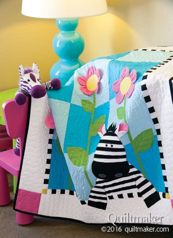 Zoe Zebra quilt pattern: Super-sized patches and 3-D applique create this charming child's quilt designed by Deb Grogan.