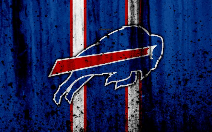 Download wallpapers 4k, NFL, grunge, stone texture, logo, emblem, Buffalo, New York, USA, American football, East Division, American Football Conference, National Football League