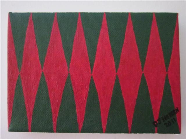 I wanted to do a painting using strong colours of both red and green - this painting is called Harlequin
