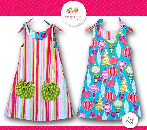 Patroon van de stropdas top jurk voor meisjes. PDF naaien patroon en e-boek tutorial voor mijn Eva Dress.  De jurk Eva is een eenvoudige maar veelzijdige A-line stropdas top jurk die is omkeerbaar-dus je krijgt eigenlijk twee jurken in één! De verzamelde cirkel zakken op de voorkant een vleugje zoetheid en zijn ook nuttig voor het houden van een zakdoek of een kleine schatten!  De tutorial bevat stap voor stap instructies en kleurenfotos. De stukken van het patroon kunnen worden afgedrukt…