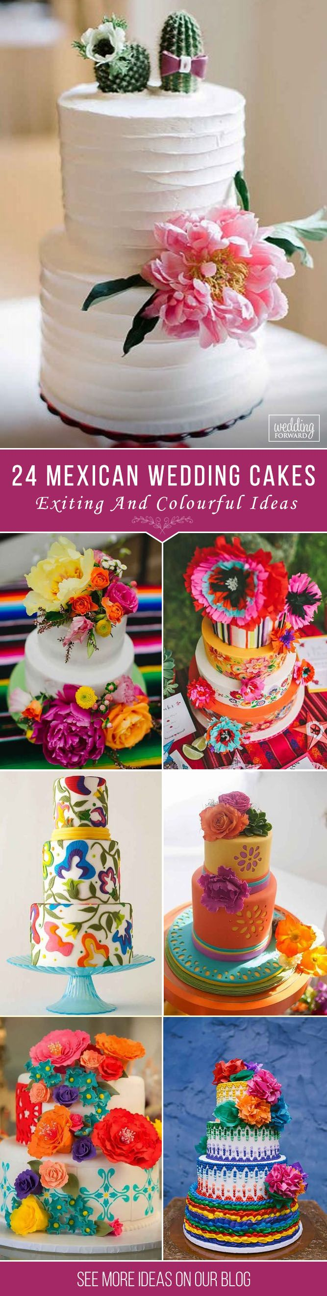 24 Exciting & Colourful Mexican Wedding Cake Ideas ❤ Mexican wedding cake could be very funny and creative. There are four rules for such kind of cake creation. See our gallery and look for the bonus! See more: http://www.weddingforward.com/mexican-wedding-cake-ideas/ #wedding #cakes