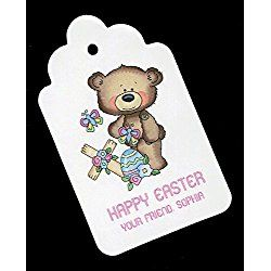 Easter Gift Tags, Bear With Cross, Personalized Set of 25