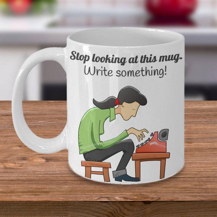Writer's Mug 'Write Something' - Cartoon Style - Double-Sided Print 11oz or 15oz by PortunaghDesign on Etsy