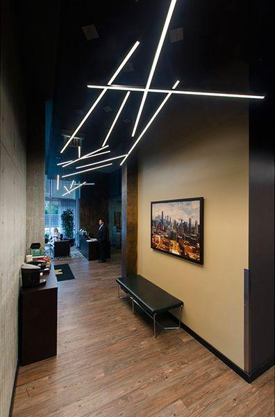 "Corridor lighting application- Edge Lighting - Cirrus Channel Suspension, Direct 1"" Lens 24VDC System: Indoor Lighting, Outdoor Lighting"