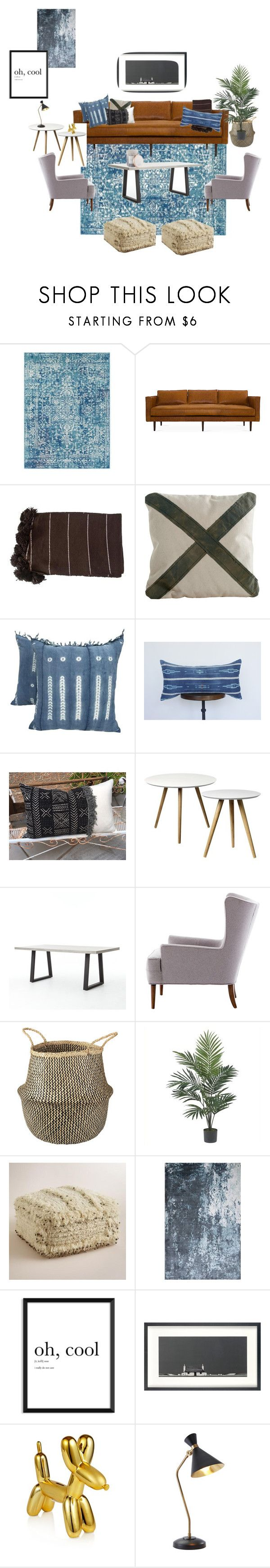 """Blue living"" by andreadavis2 on Polyvore featuring interior, interiors, interior design, home, home decor, interior decorating, Surya, Nearly Natural, Cost Plus World Market and John Lewis"