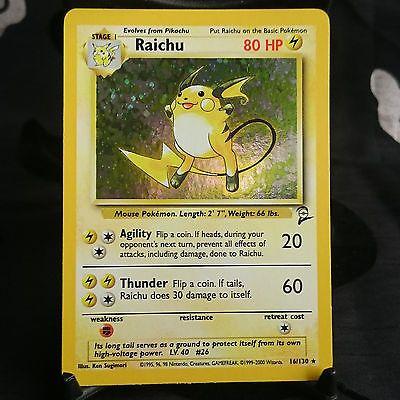 Pokemon Trading Card Raichu Holo Base Set 2 Rare Mint 16/130 Foil Shiny WOTC #QuinzelsCollectables